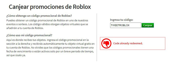 Promo code Roblox